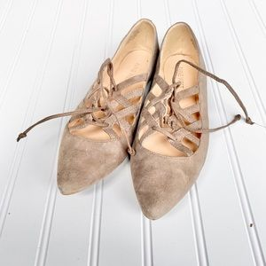 Lace up tan suede flats from Nine West